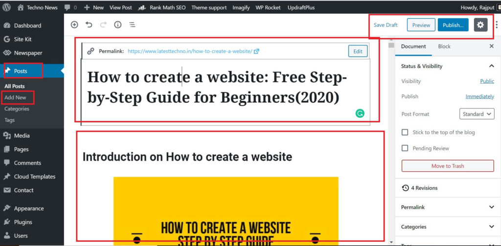 Create first post of your site